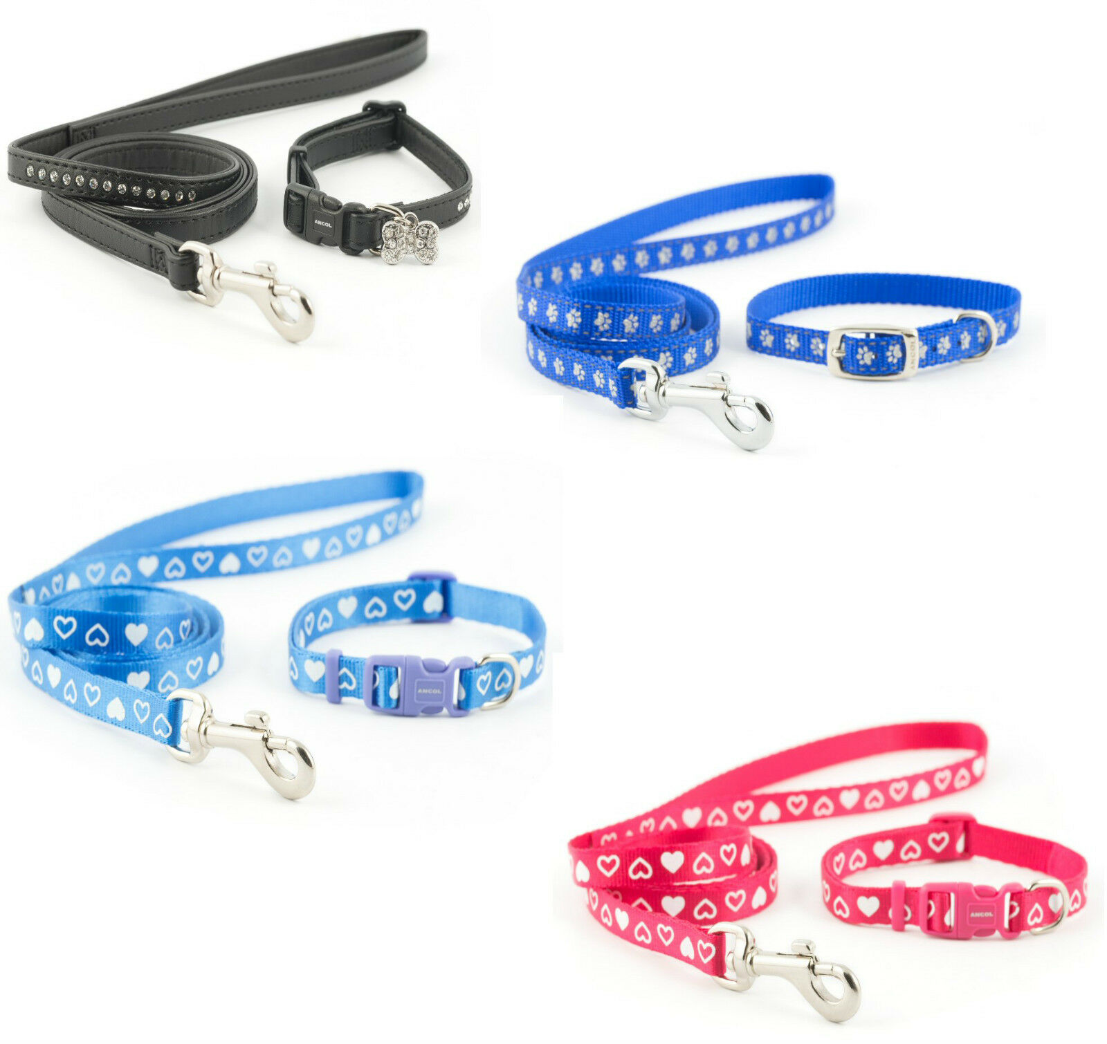 Ancol Collar and Lead In colors And Design Raspberry, Blue, Pink, Red and Black