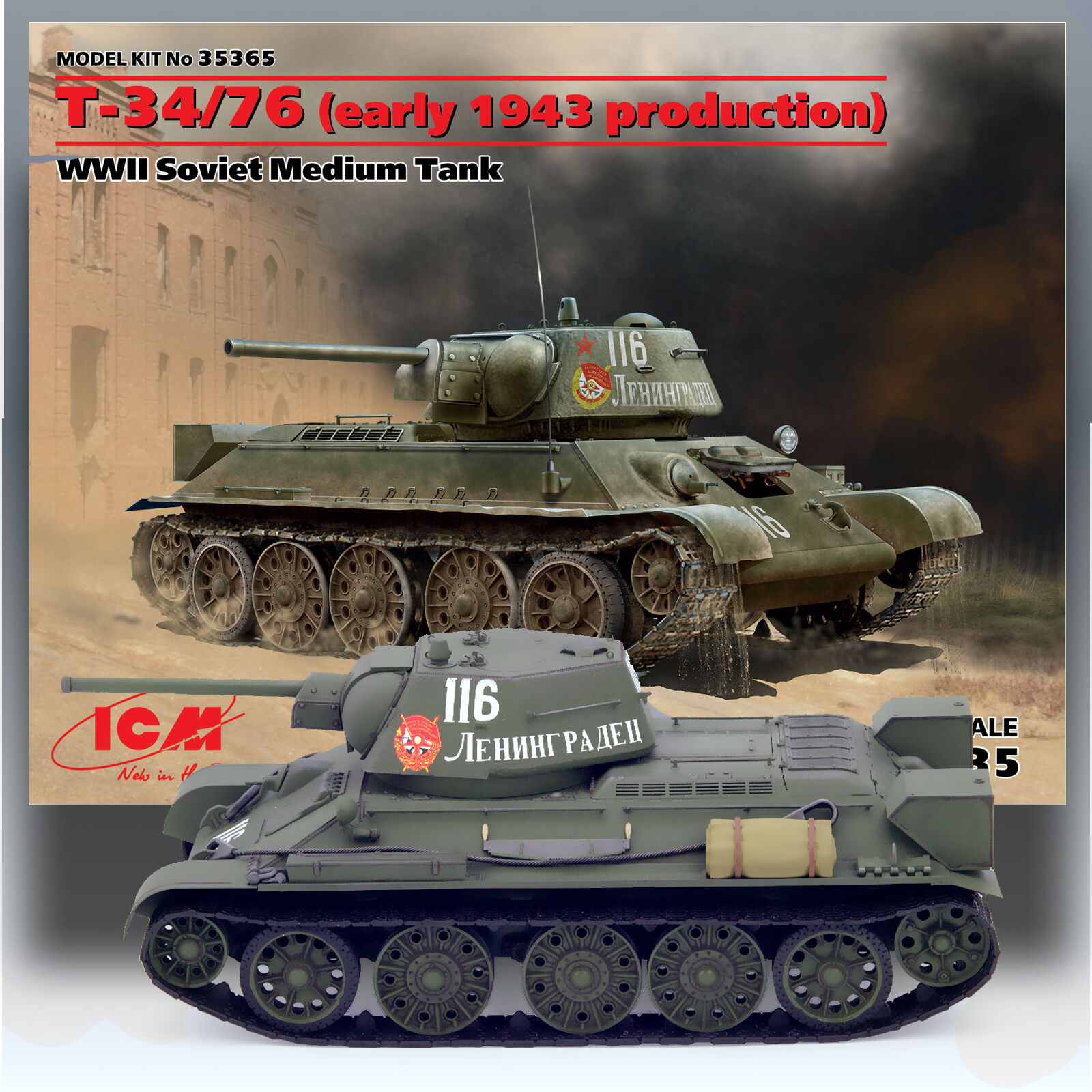 ICM 1/35 T-34/76 (Early 1943 Production) Wwii Soviet