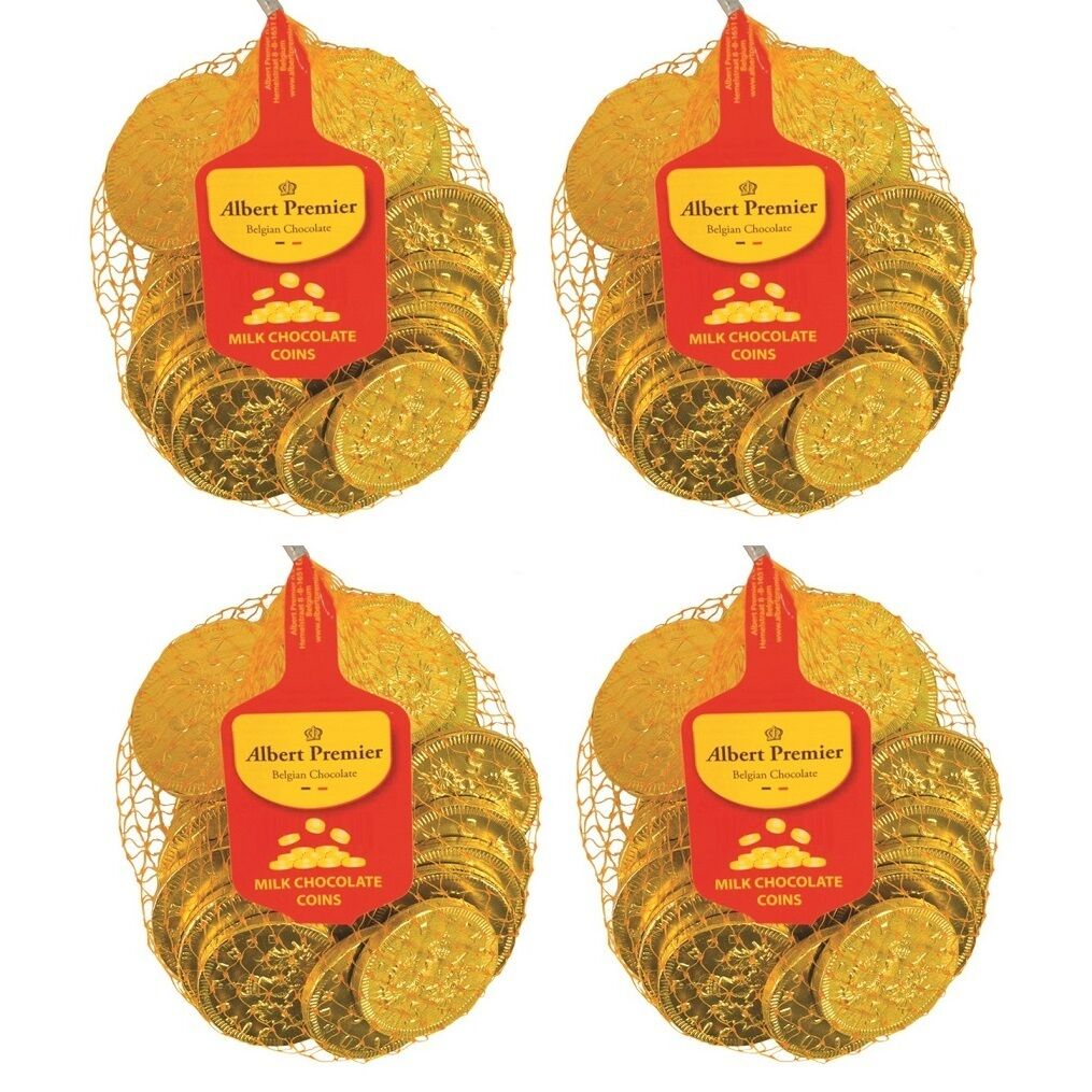 4 PACK 120g Gold Belgian Milk Chocolate Coins Bag Classic Sweets Gifts Party Bag