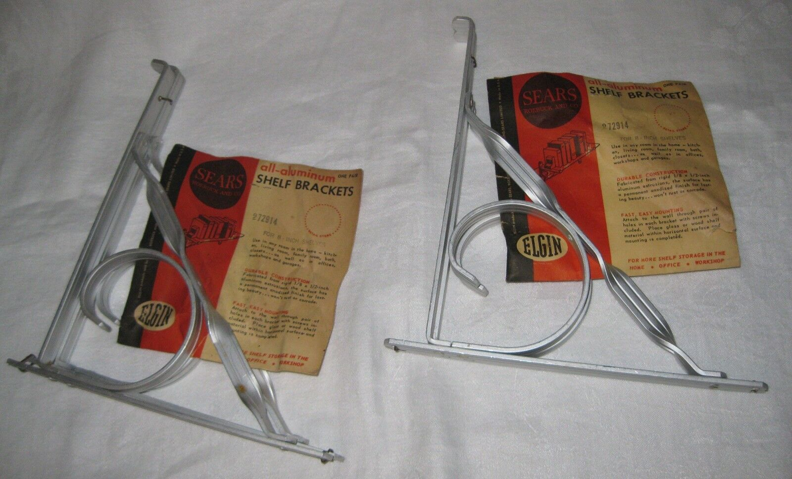 "estate find Vintage 2 Pairs SEARS ELGIN ALUMINUM 8"" SHELF BRACKETS New Old Stock"