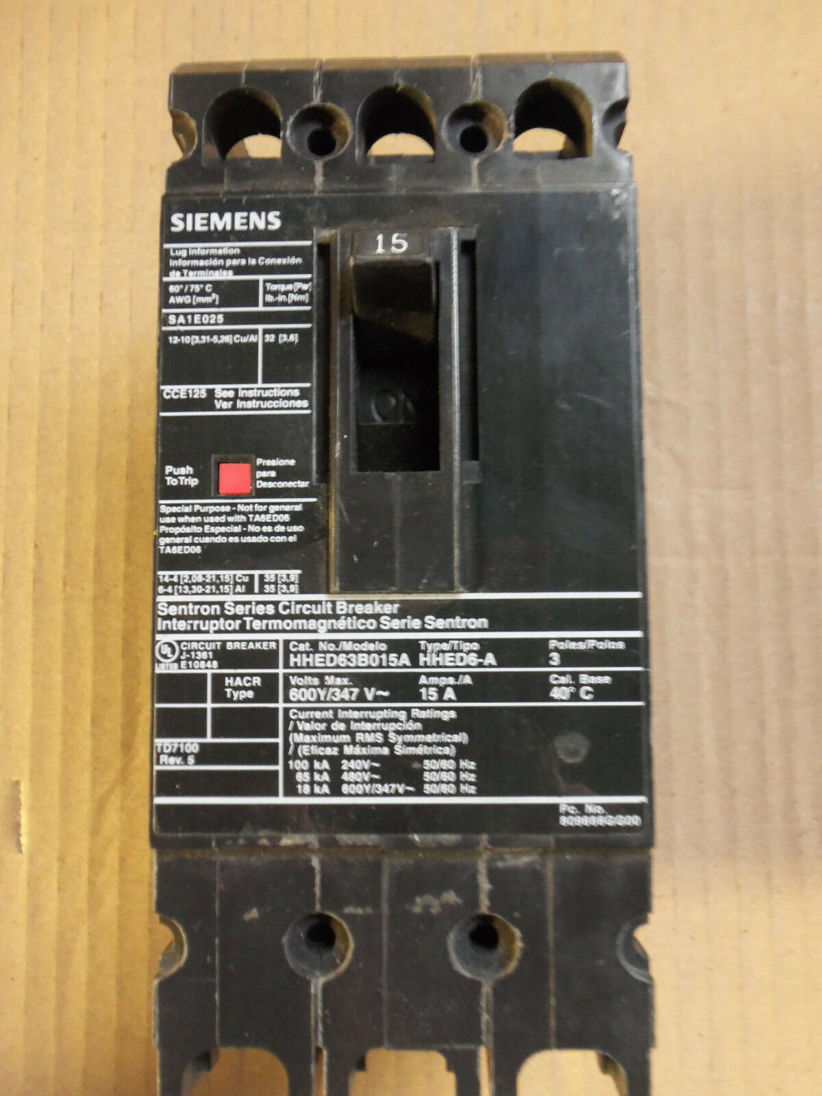 SIEMENS HHED6 HHED63B015A 3 Pole 600V 15 Amp Circuit Breaker HHED ...