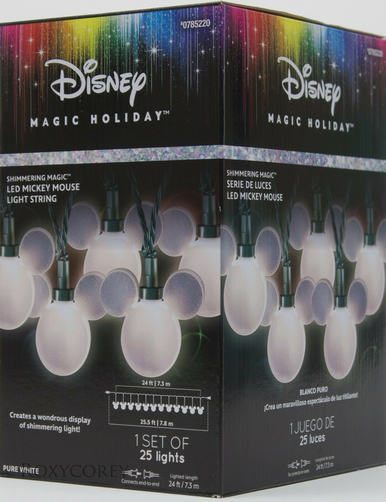 Christmas Disney Magic Holiday 25 Shimmering Led Mickey Mouse String Each Light Bulb On A Standard Of 50 Drops 25v The 120v Lights