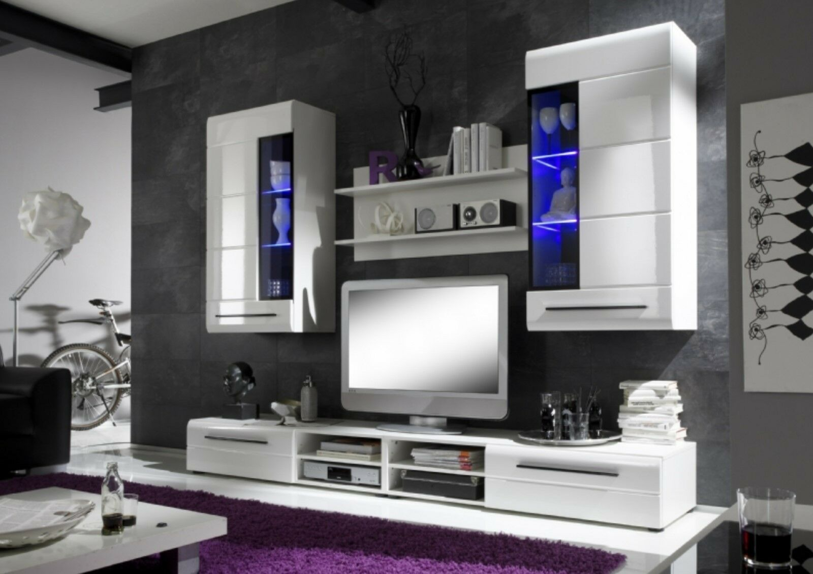 led wohnwand beta trend wohnzimmer schrankwand tv m bel anbauwand wei hochglanz eur 299 95. Black Bedroom Furniture Sets. Home Design Ideas