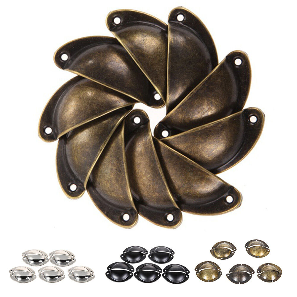 Antique Retro Vintage Shell Cup Pull Cupboard Cabinet Drawer Box Handle 10x