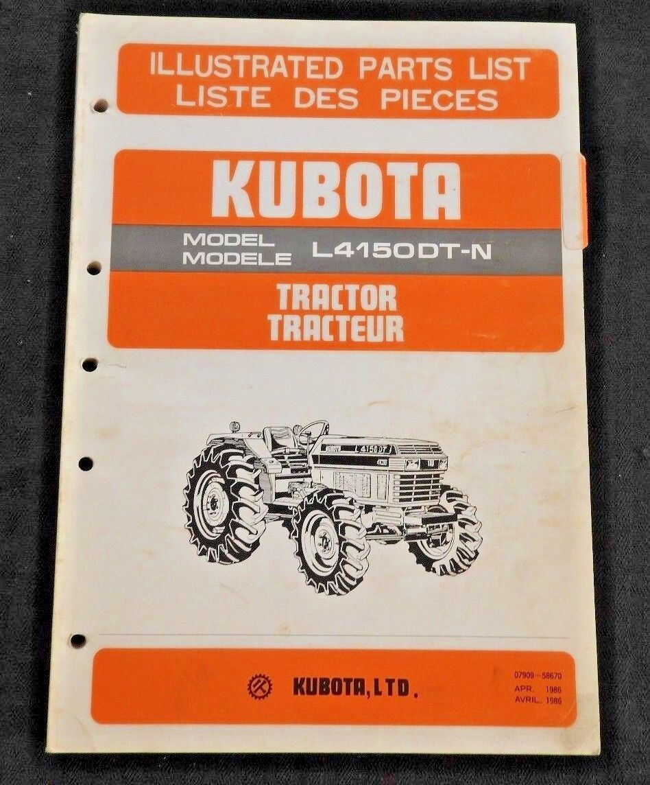 Genuine Kubota 4150 L4150-Dt-N Tractor Parts Catalog Manual Very Good Shape  1 of 3Only 1 available See More