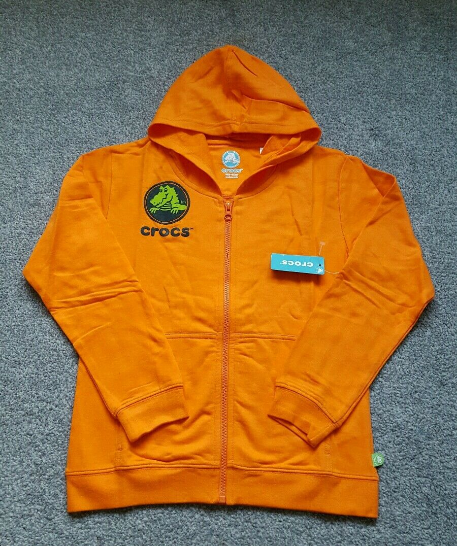 CROCS Girls FULL Zip Hoodie COTTON -  Orange. Size 8 YEARS. BRAND NEW.