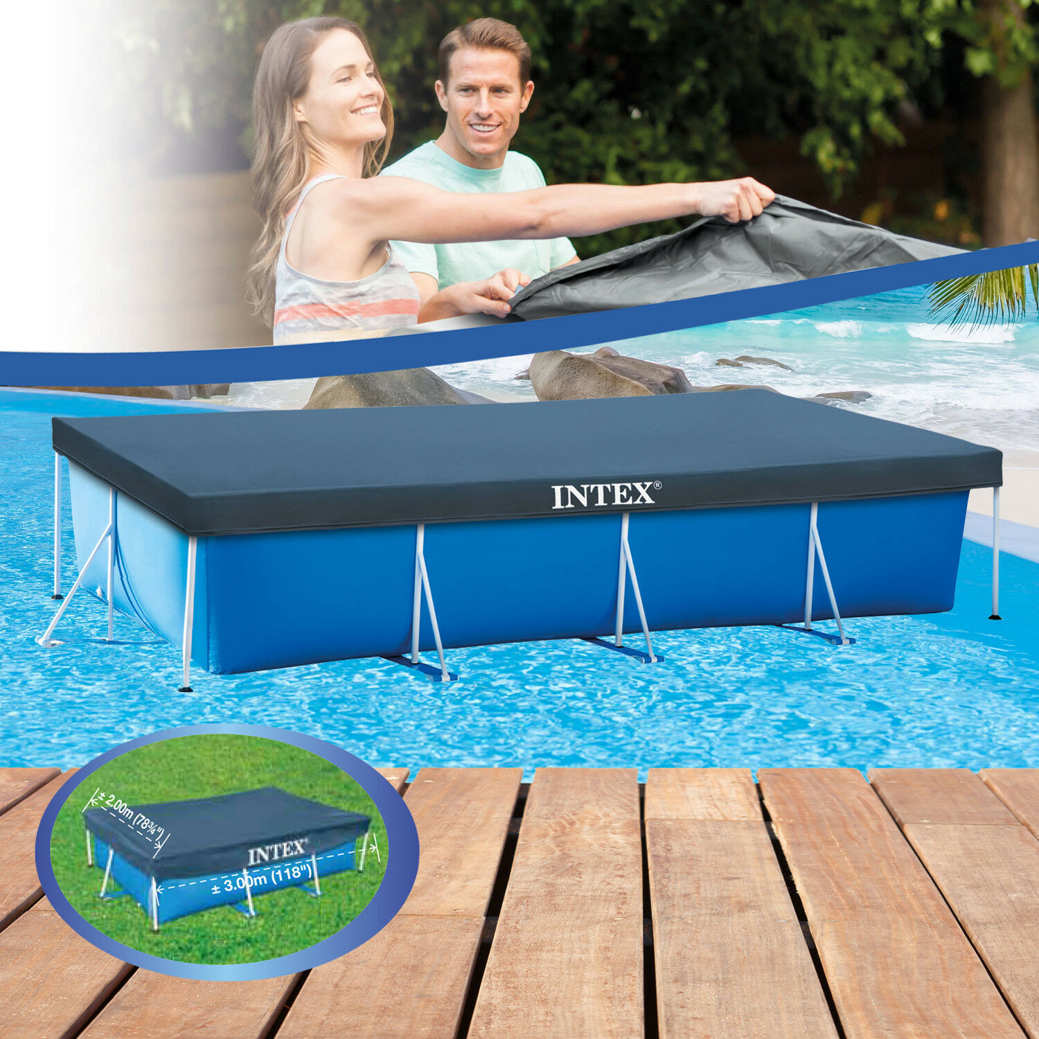 intex 300x200cm abdeckplane poolplane poolabdeckung plane pool abdeckung frame eur 13 90. Black Bedroom Furniture Sets. Home Design Ideas