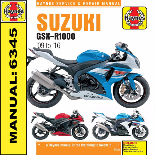 suzuki gsx r1000 gsxr1000 2009 2016 haynes manual 6345 new rh picclick co uk  2008 suzuki gsxr 1000 owners manual pdf
