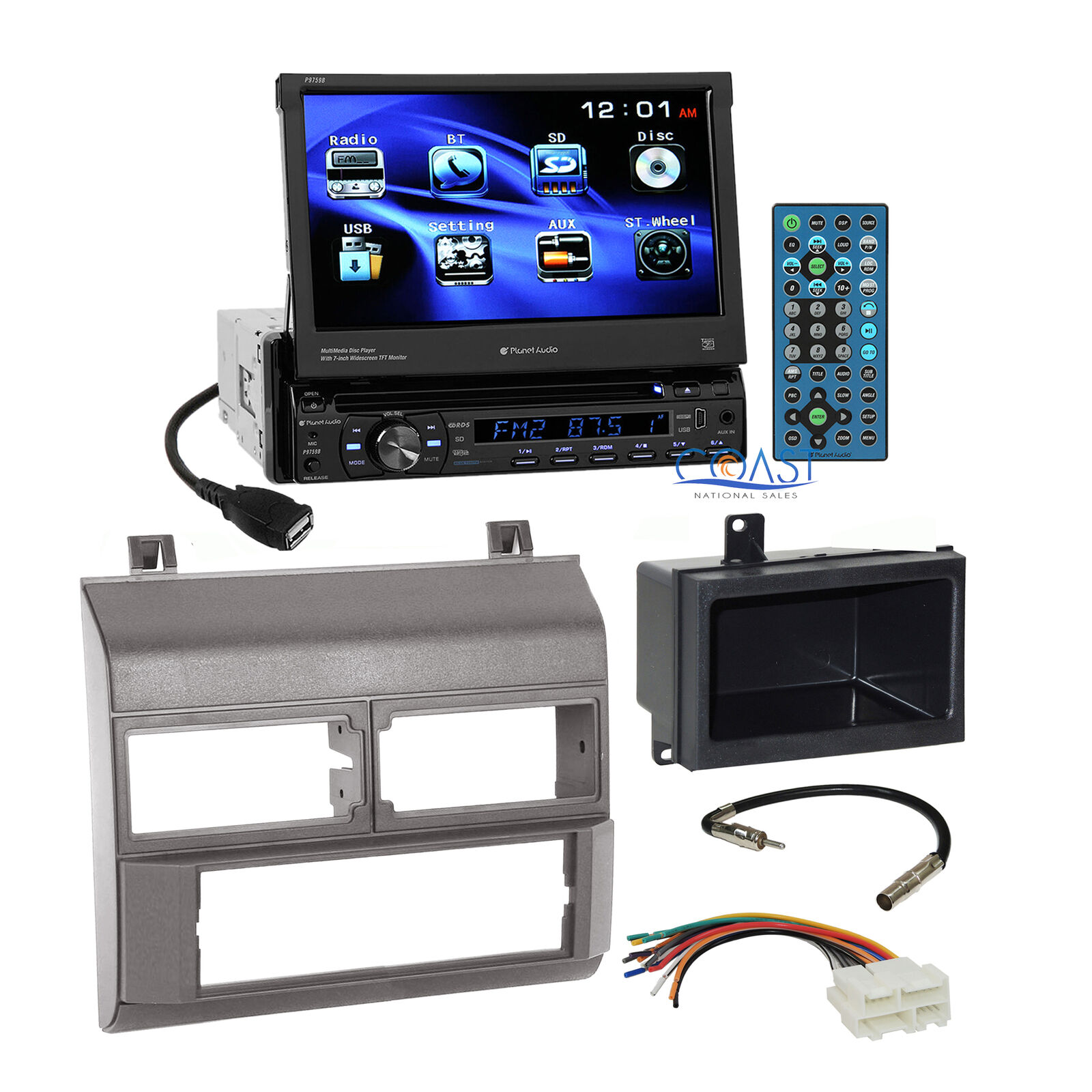 Planet Audio Car Dvd Stereo Gray Dash Kit Harness For 88 94 Chevy Chevrolet Truck Wiring Adapter 1 Of 6free Shipping
