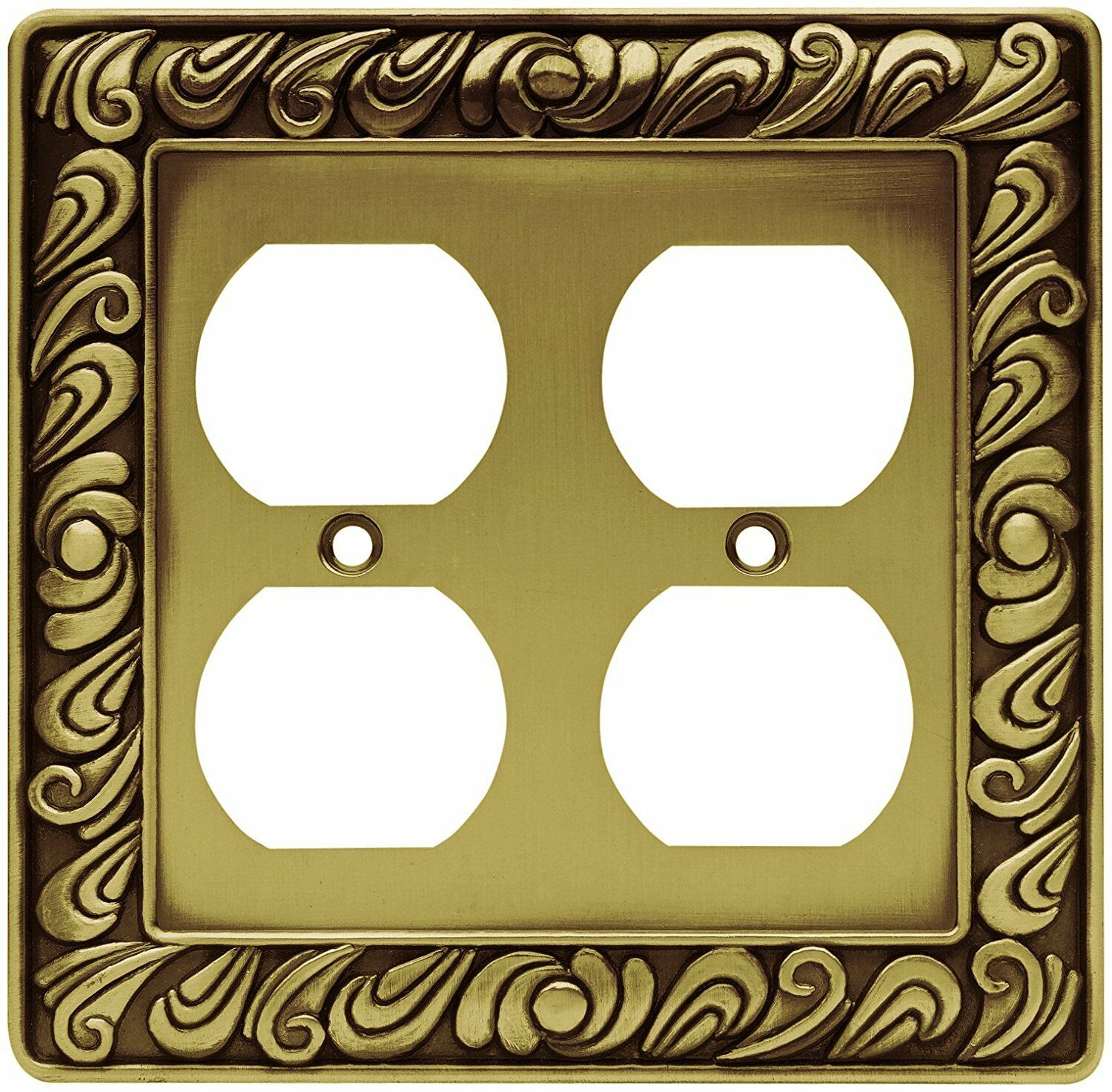 64197 TUMBLED ANTIQUE Brass Paisley Double Duplex Outlet Cover Plate ...