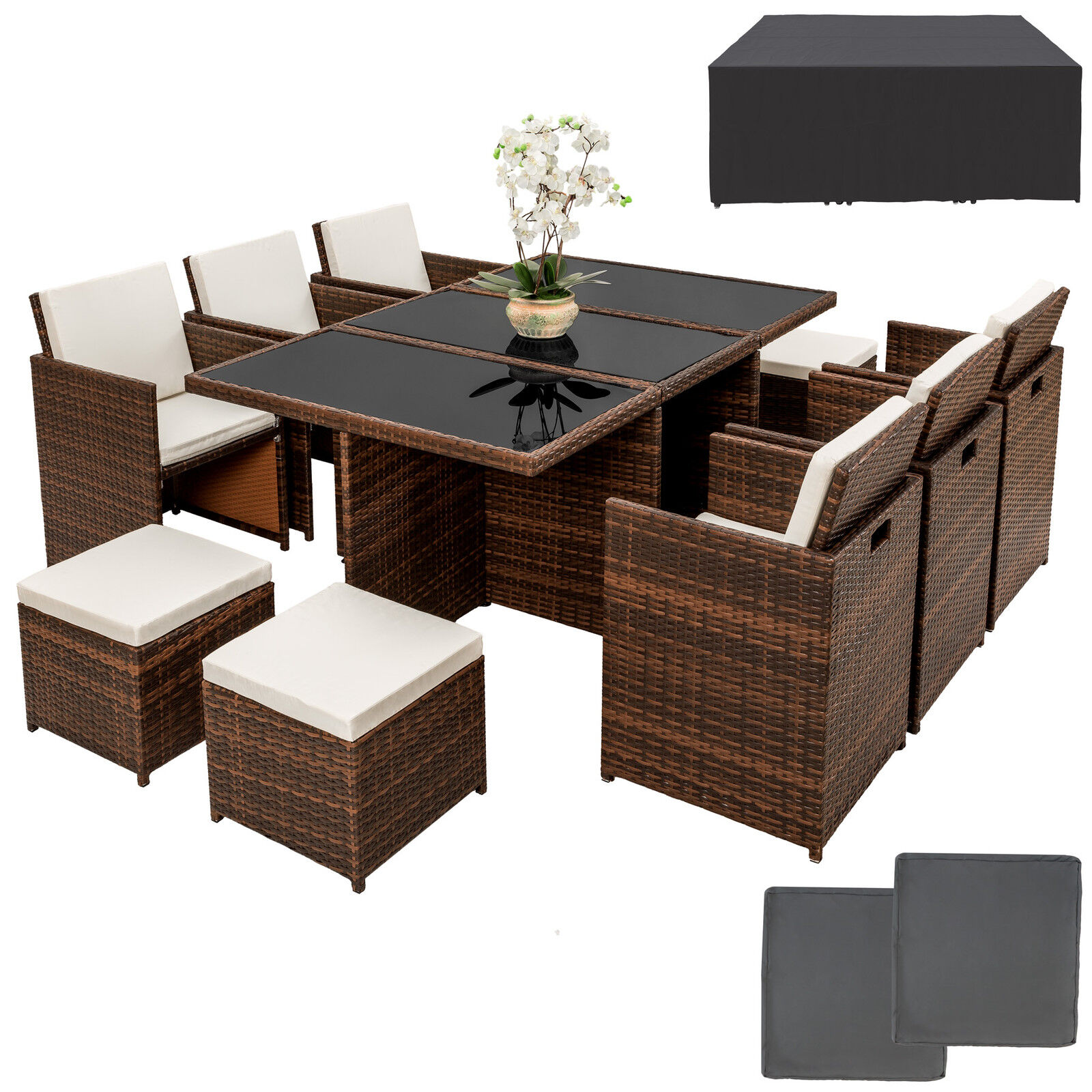 poly rattan gartenm bel set garnitur sitzgarnitur aluminium st hle tisch hocker eur 689 99. Black Bedroom Furniture Sets. Home Design Ideas