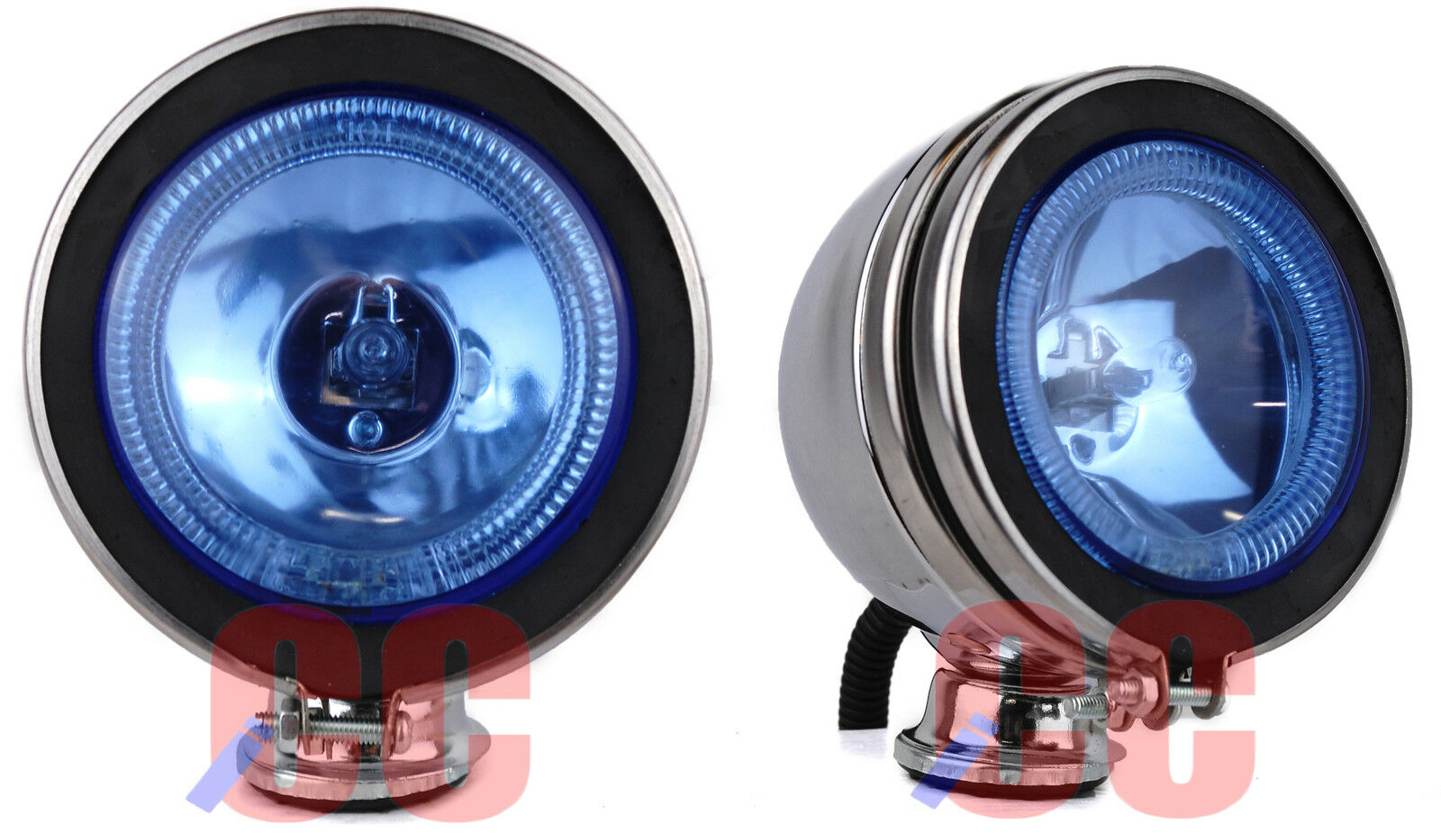 pair of 4 12v spotlight halogen lamp led angel eye head light fog car van blue. Black Bedroom Furniture Sets. Home Design Ideas