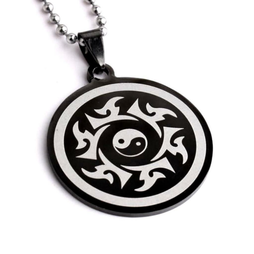 Yin Yang Necklace Black Stainless Steel Pendant Tai Chi Martial Arts