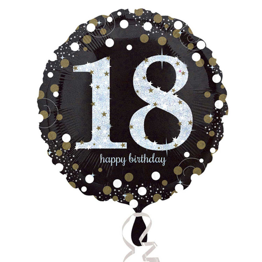 18th Happy Birthday Foil Balloon Black Silver Gold Party Decorations Age 18 1 Of 1Only Available