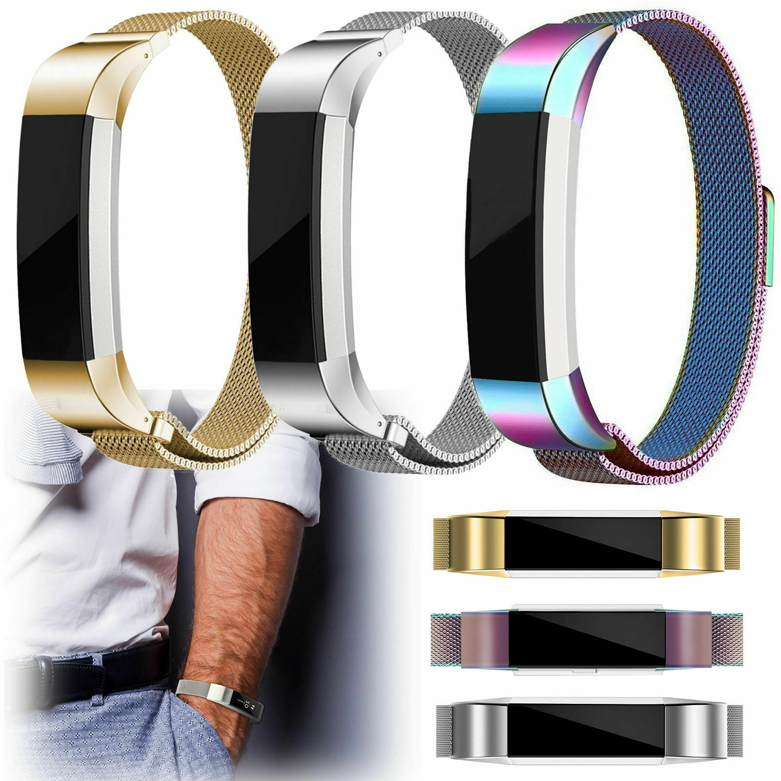 Eeekit Magnetic Loop Stainless Steel Wrist Band Strap For Fitbit Alta Hr Smartwatch Small Black 1 Of 11free Shipping