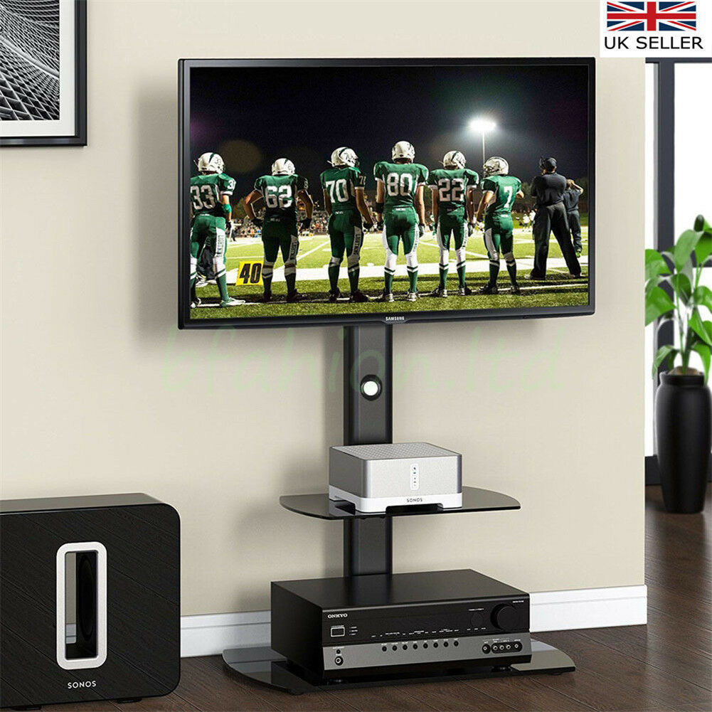 Black tv stand cantilever with tv mount bracket 32 65 - Meuble tele avec support ...
