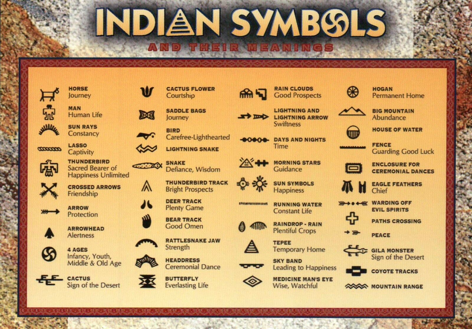 American Indian Symbols And Their Meanings Native Horse Bird Etc
