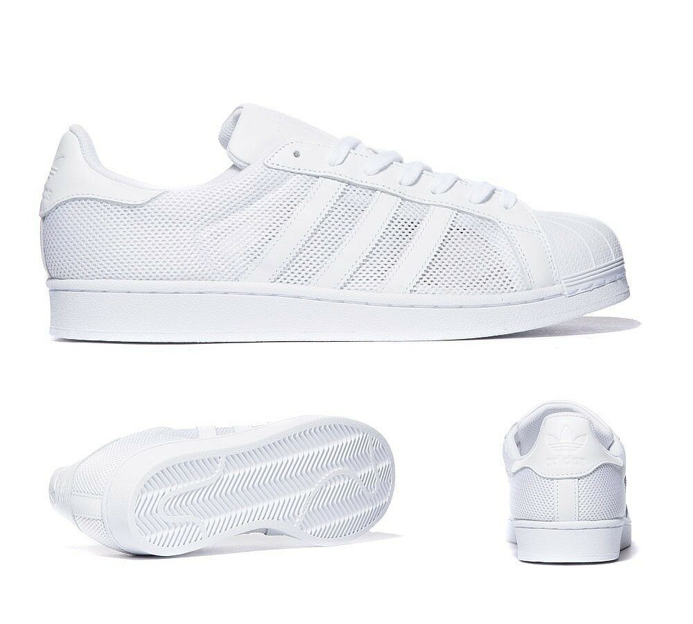 mens adidas superstar mesh triple white trainers rrp 74. Black Bedroom Furniture Sets. Home Design Ideas