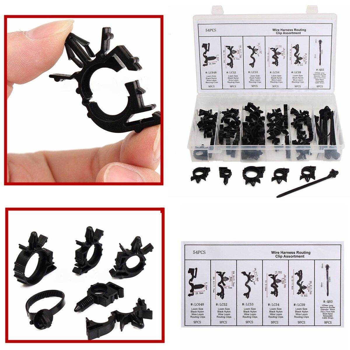 54 Pcs Tube Hose Wire Cable Loom Routing Harness Retainer Clip 6 Types 1 Of 9free Shipping