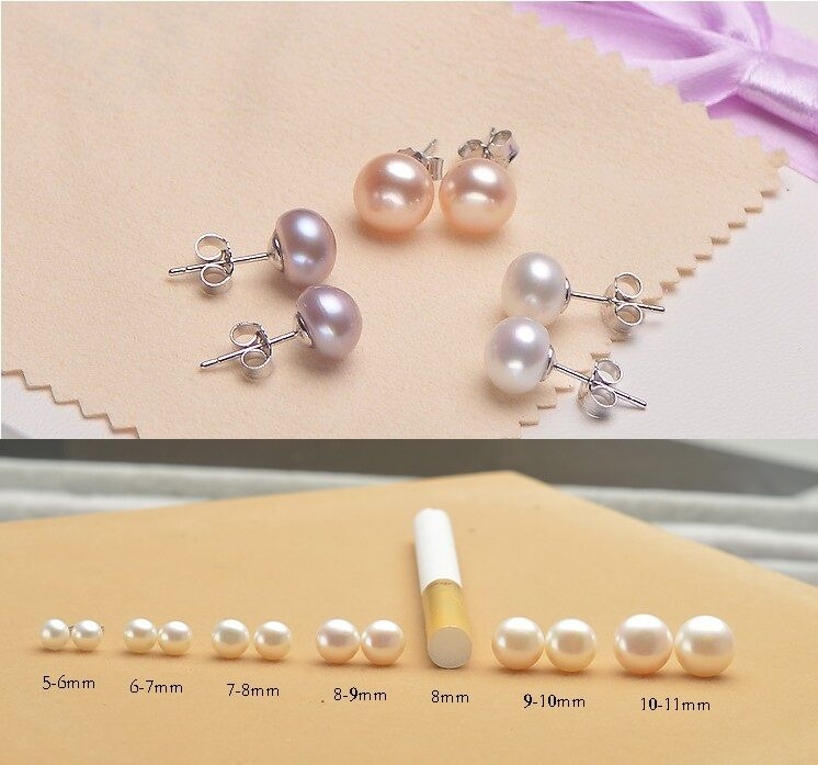 925 Sterling Silver Genuine Freshwater 5 10mm Pearl Stud Earrings Gift Box Love 1 Of 12free Shipping See More
