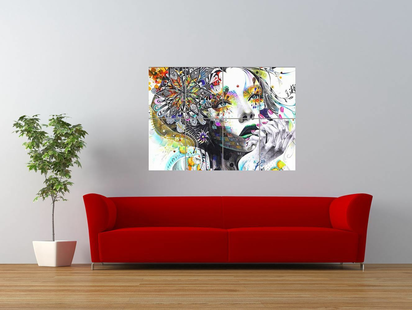 painting psychedelic girl street graffiti giant art print panel poster nor0307 eur 11 09. Black Bedroom Furniture Sets. Home Design Ideas