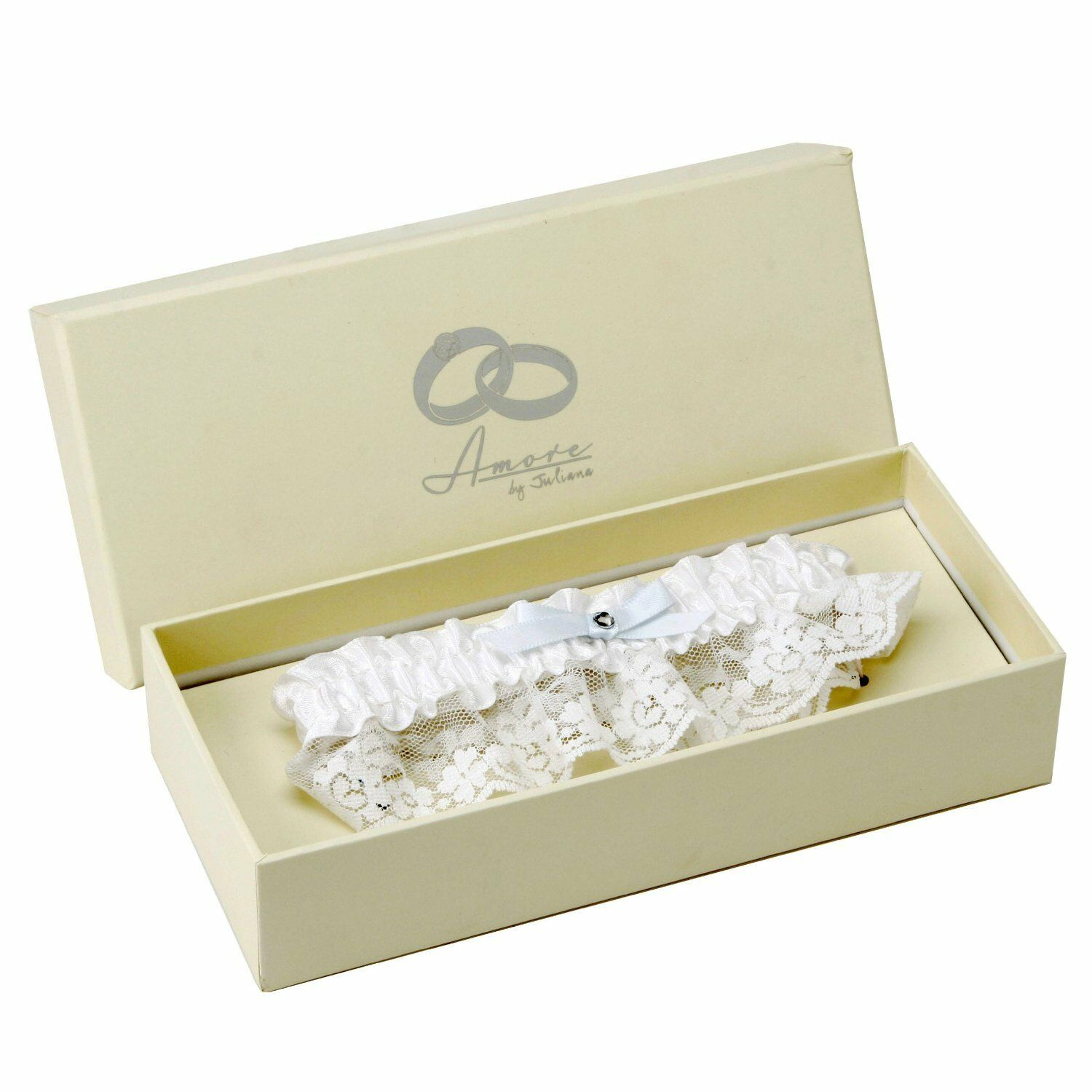 Amore White Lace + Satin Blue Bow Wedding Garter Gift Boxed Bride Accessories