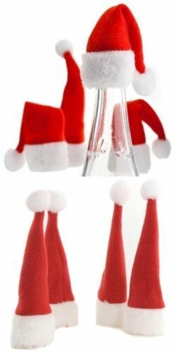4 SANTA HATS Festive Wine Bottle Tops Toppers Father Christmas Gift ...