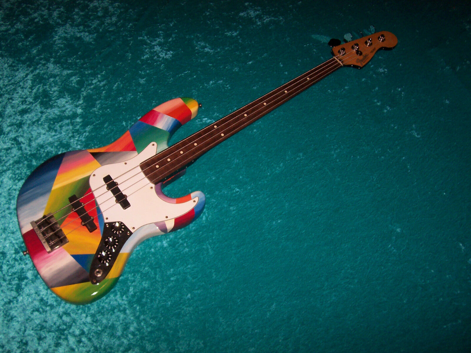 beautiful custom painted jazz bass fender american usa guitar