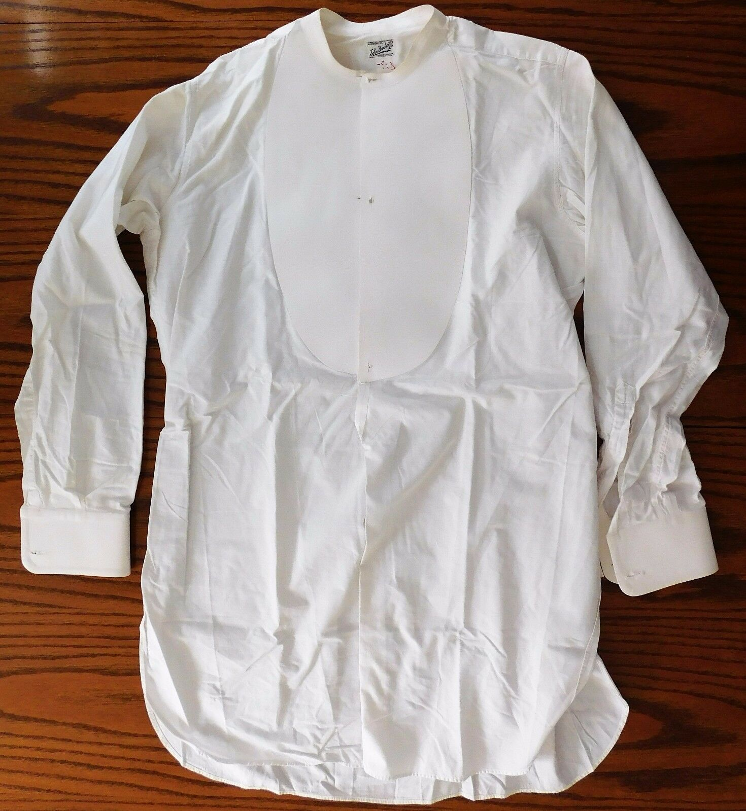 Starched tunic dress shirt size 15 mens vintage edwardian for Size 15 dress shirt