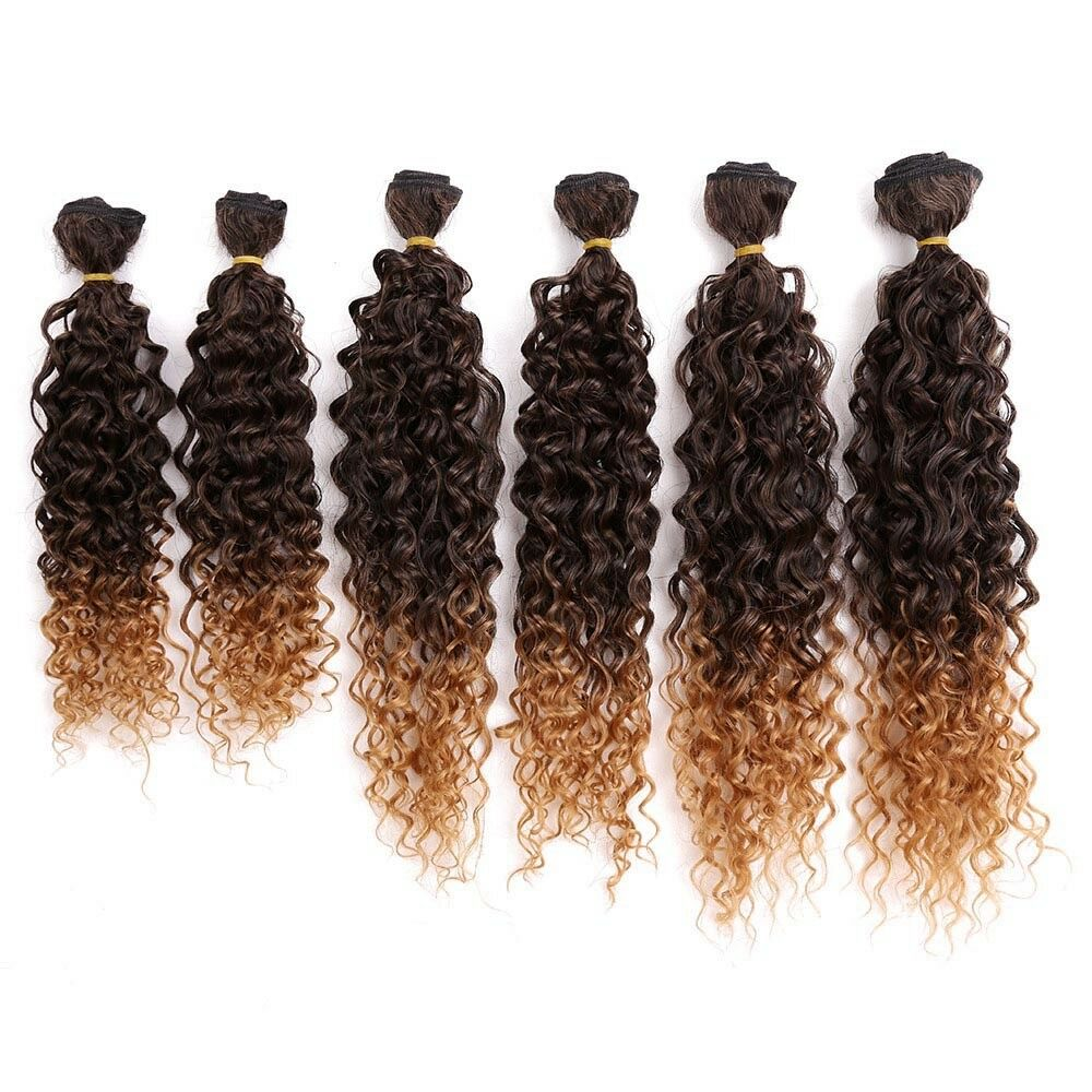 6pcspack Sew In Full Head Ombre Hair Weave Jerry Curly Synthetic
