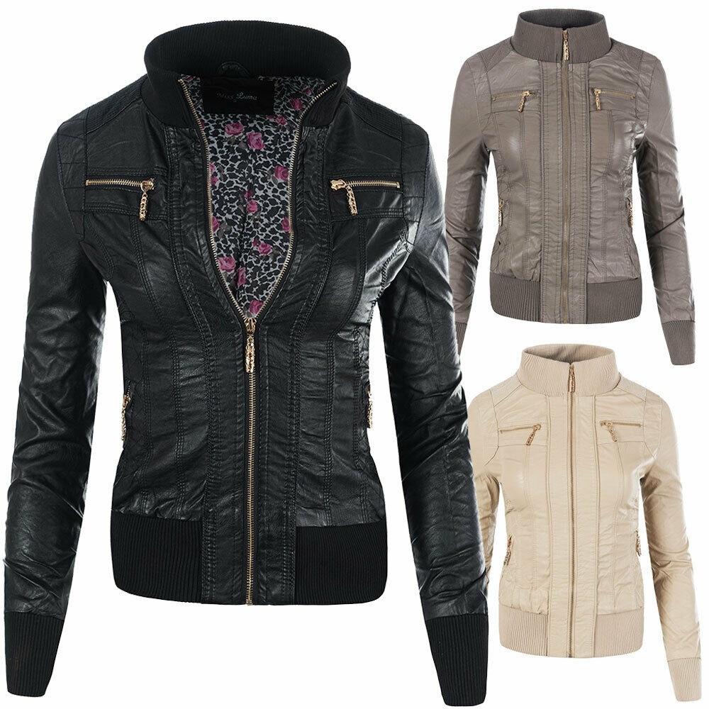 n541 damen jacke jacket kunstleder lederimitat lederlook blazer biker eur 23 70 picclick de. Black Bedroom Furniture Sets. Home Design Ideas