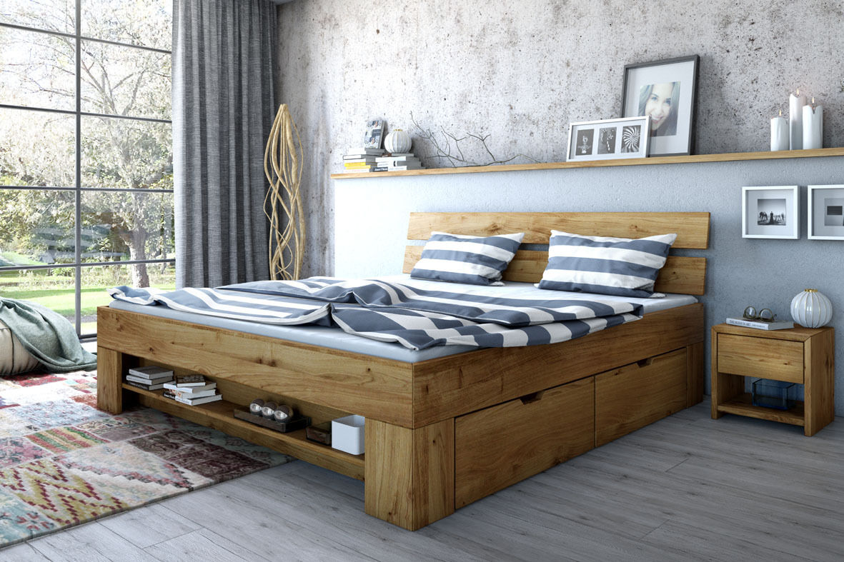 futonbett bett wildeiche massiv ge lt 180cm inkl 4 bettk sten fu teilregal eur 589 00. Black Bedroom Furniture Sets. Home Design Ideas