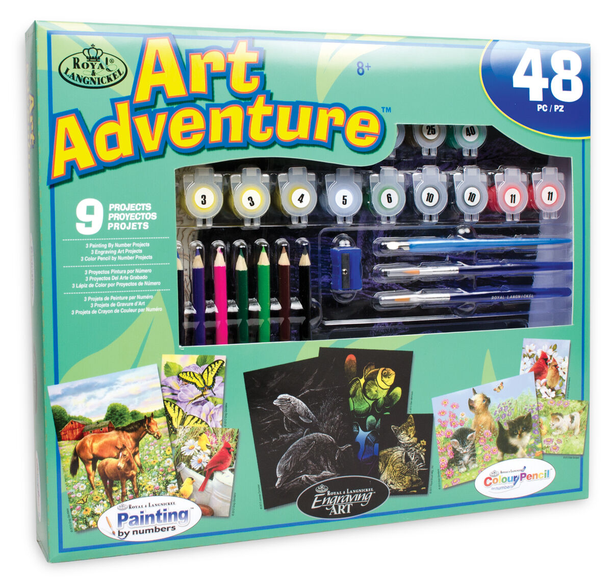 KIDS 48 PC Art Set Paint by Number Pencil by Number Engrave Art 9 ...