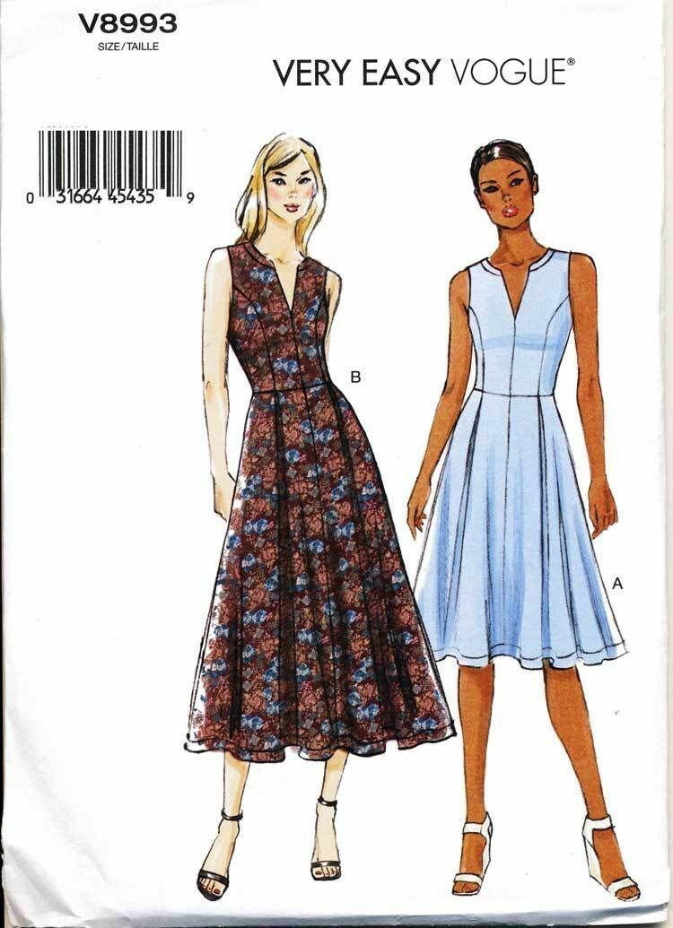 Vogue Sewing Pattern 8993 Misses Sz 16 24 Fit Flare Pleated Dress