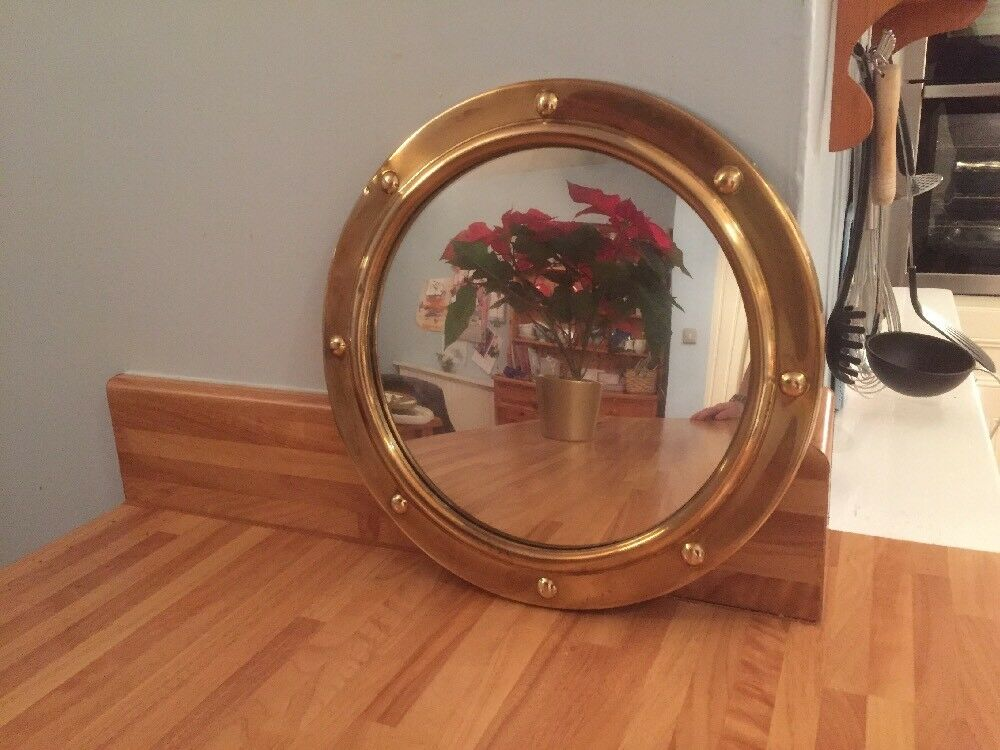 Lovely vintage porthole style round brass convex fish eye for Porthole style mirror
