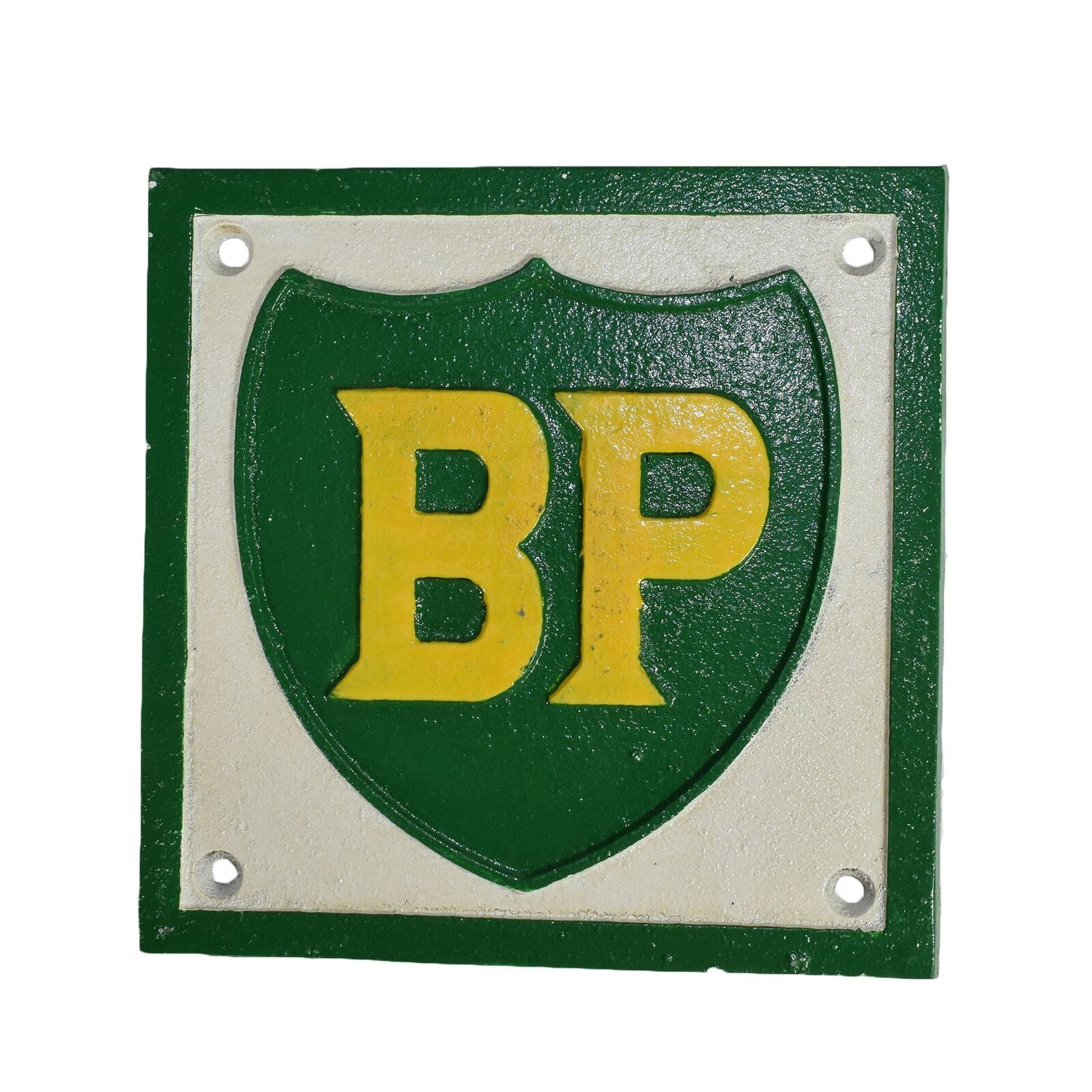 Bp fuel square cast iron sign plaque wall garage petrol for Plaque w garage assurance
