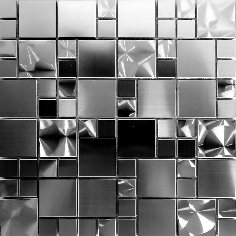 UNIQUE STAINLESS STEEL Pattern Mosaic Tile Kitchen Backsplash Bath - 4x4 white tile with gold specks