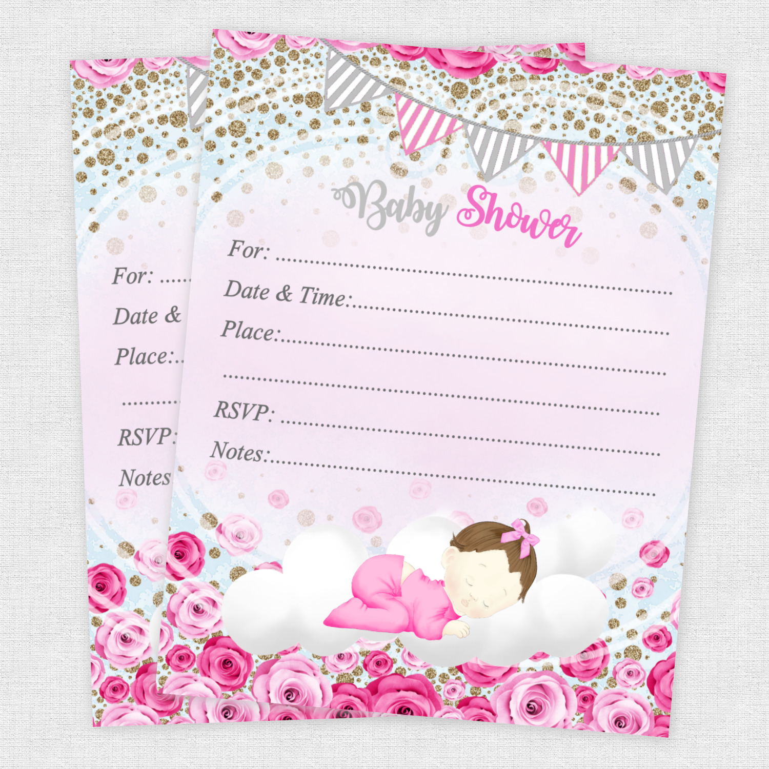 20 BABY SHOWER Invitations Girl Cards Invites Decorations ...
