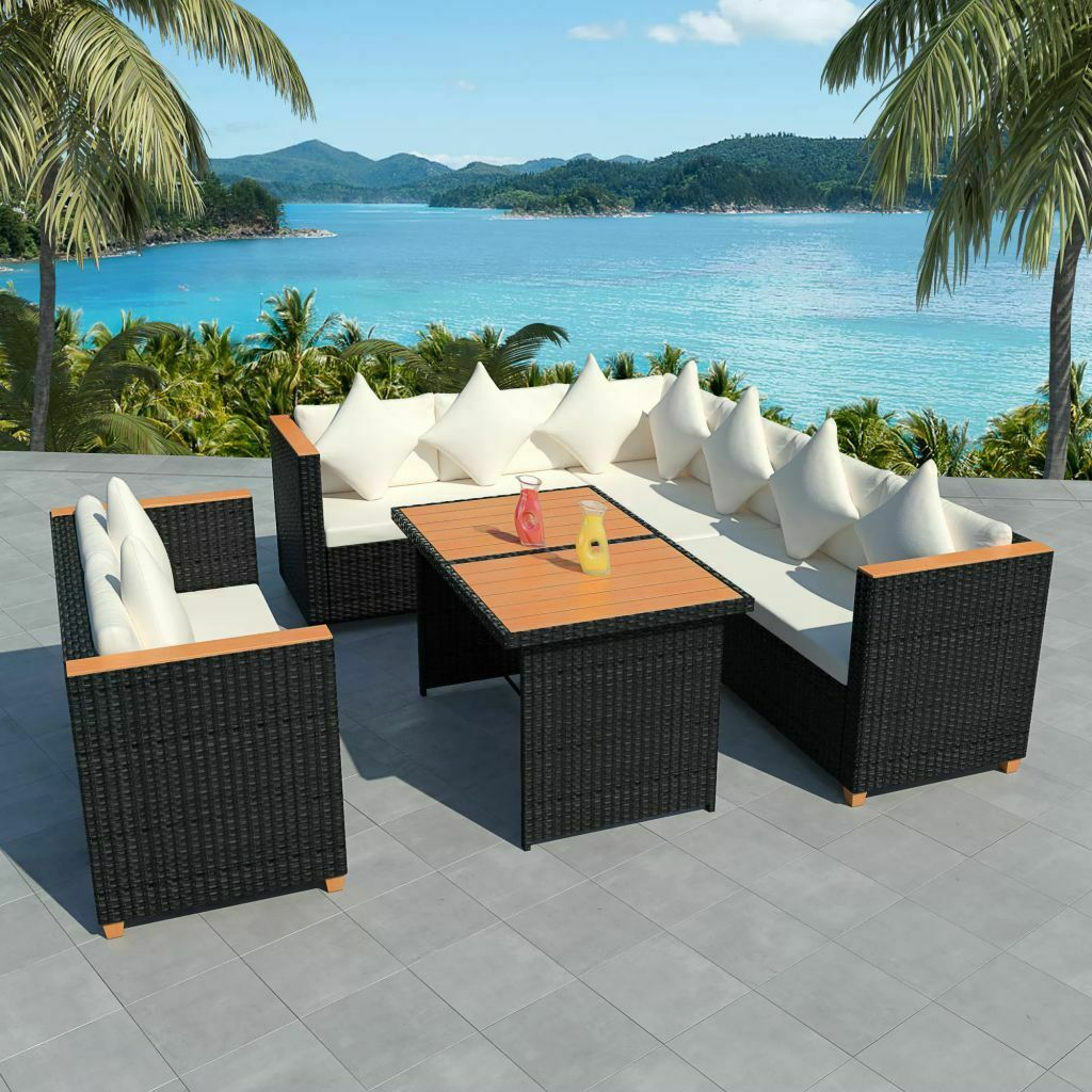 vidaxl poly rattan essgruppe 27 tlg polywood wpc schwarz. Black Bedroom Furniture Sets. Home Design Ideas