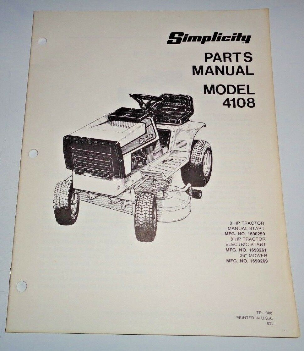 Simplicity 4108 Lawn Garden Tractor Parts Catalog Manual Book Ignition Wiring Diagram Original 1 Of 3only Available