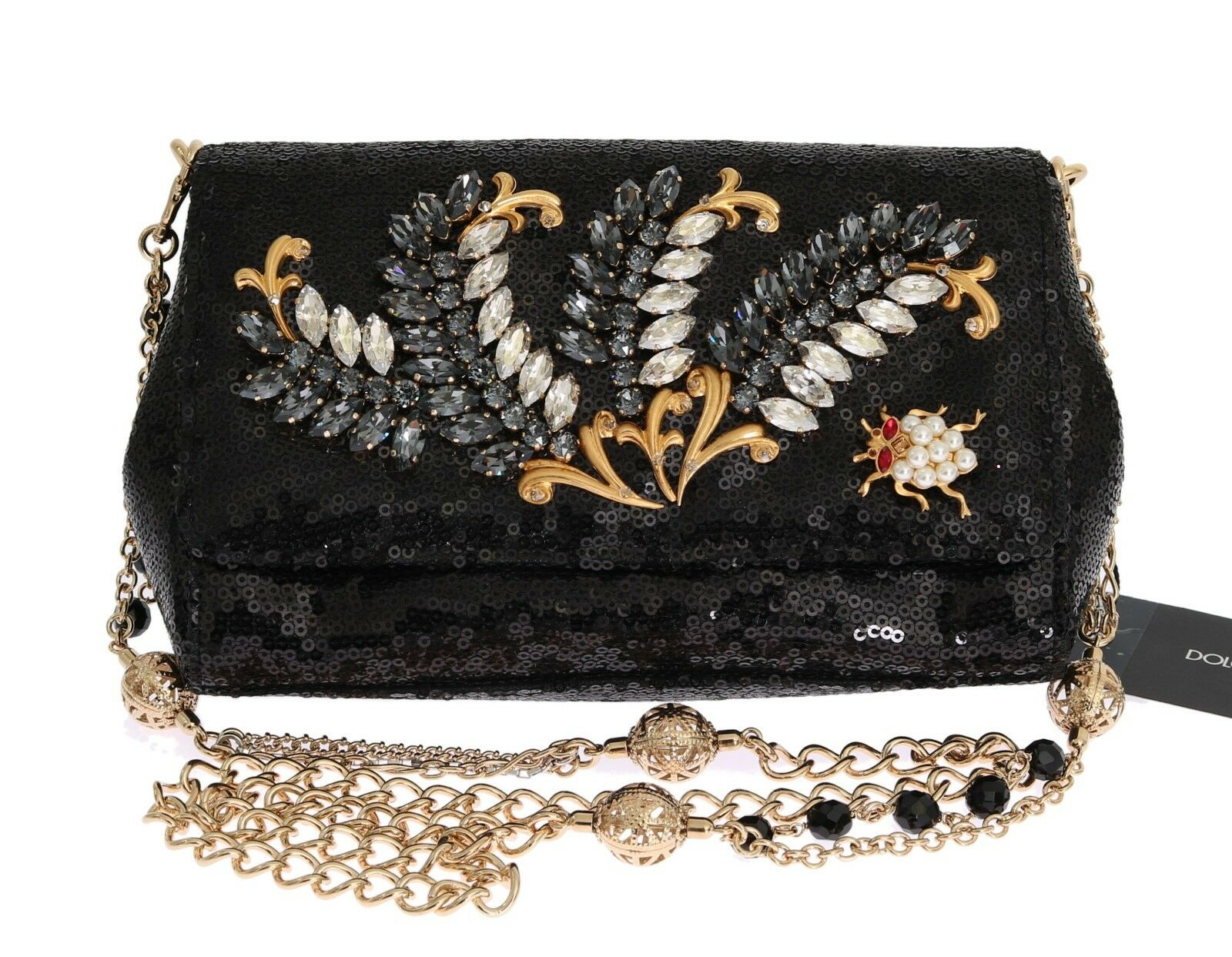ef3881349cd 1 of 12Only 1 available NEW  2600 DOLCE   GABBANA Bag Clutch Purse Black  Crystal Sequined Shoulder Party