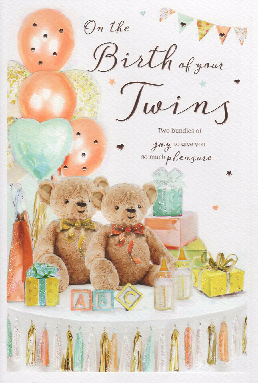Congratulations Its Twins Greeting Card On The Birth Of Baby