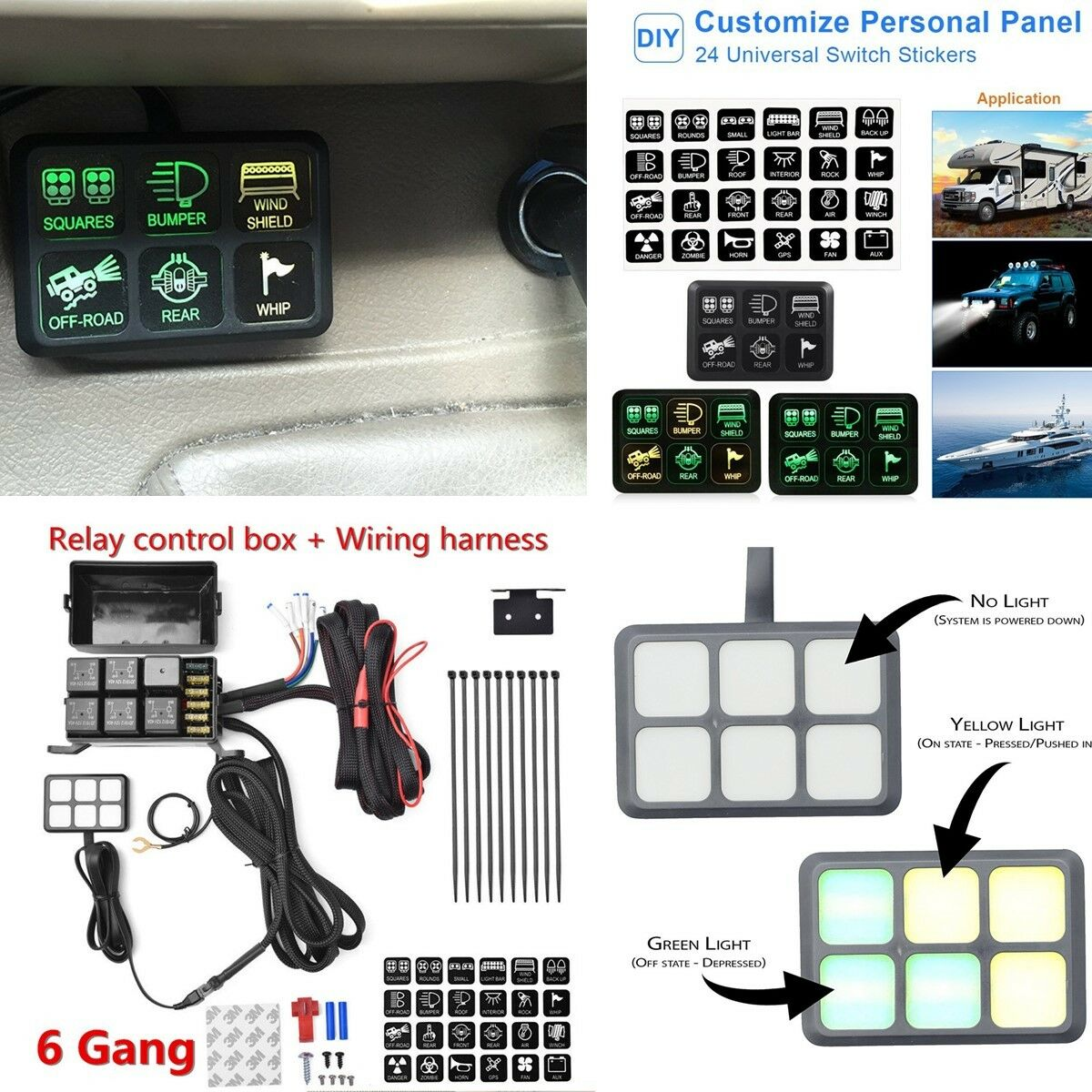 6 Switch Panel Relay Control Box Wiring Harness For Vehicle With 1 Of 11free Shipping
