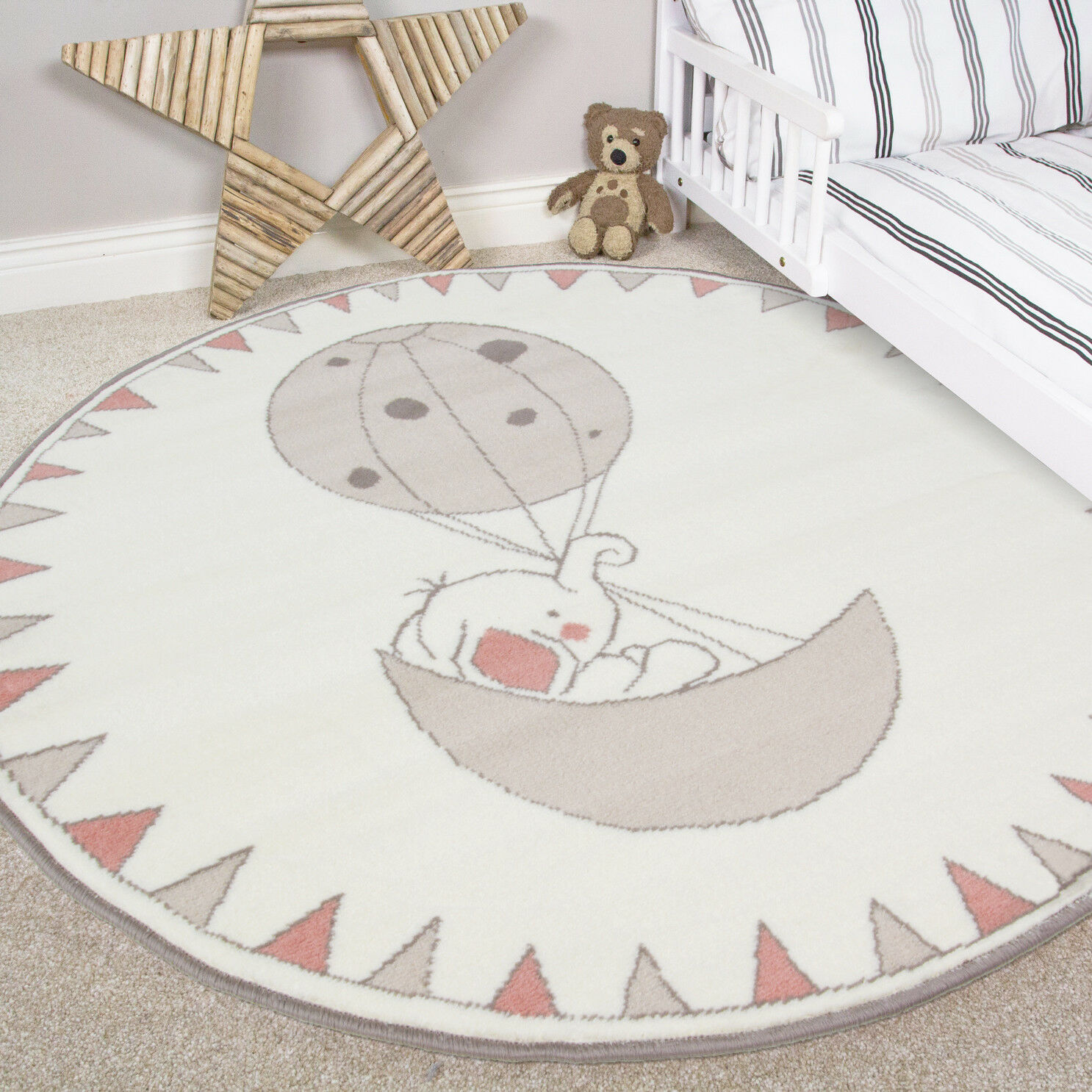 Kids Cream Pink Round Bedroom Rug Circle Elephant Baby S Boys Nursery Mat Uk 1 Of 5free Shipping See More