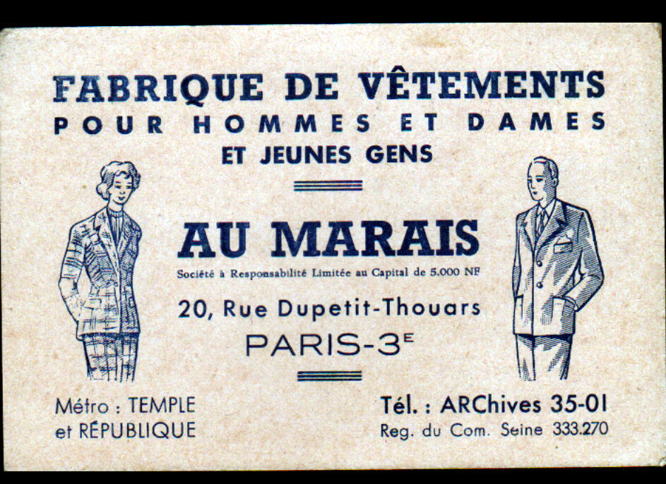PARIS III USINE De CONFECTION MODE AU MARAIS Carte Visite Illustre