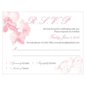 48 Classic Orchid Custom Printed Wedding Response Cards eBay