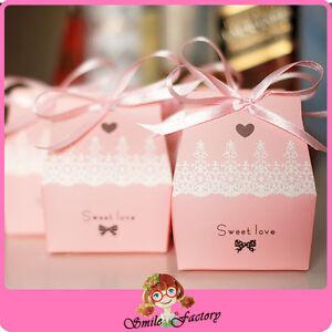 100pcs Sweet Love Cute Ribbon Wedding Favor Candy Boxes Gift Box