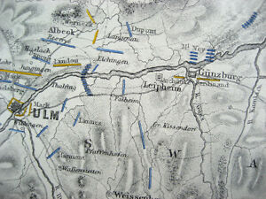 Battle Plan Map Capitulation of ULM 1805 Ulm Campaign JOHNSTON 1866