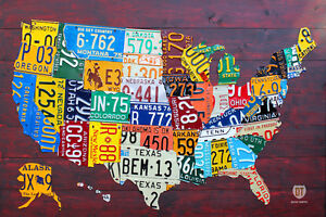 License Plate Map of The USA Recycled Metal Wall Decor Pub Man