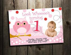 OWL BIRTHDAY PARTY INVITATION CUSTOM 1ST BABY SHOWER INVITES